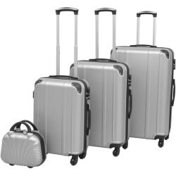 vidaXL Vierteiliges Hartschalen Trolley Set Silber