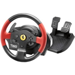 THRUSTMASTER T150 Ferrari Wheel Force Feedback Volante con set di pedali (Nero rosso)